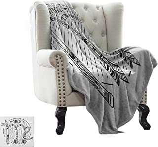 BelleAckerman Outdoor Blanket Virgo,Black and White Symbol Zodiac Sign Astrologic Celestial Alignments Predicting Future, Black White Super Soft and Warm,Durable Throw Blanket 50