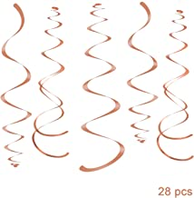 WEVEN Rose Gold Party Hanging Swirl Decorations Sparkly Foil Streamer for Ceiling, Pack of 28