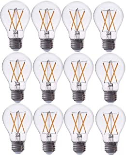 TriGlow T98807-12 (12-Pack) 7-Watt (60W Equivalent) LED A19 Clear Glass Bulb, 2700K Color (Warm White), DIMMABLE 800 Lumens, E26 Medium Base LED Glass Light Bulbs
