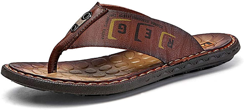 ZHRUI Men Flip Flops Beach Sandals Outdoor Casual shoes Man Comfortable Summer Soft Platform Slippers (color   Red-brown, Size   11=46 EU)