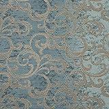 englisch dekor Dekostoff Vorhangstoff Ornamente blau