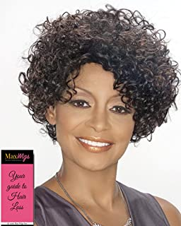 Daphne Wig Color FS4/27 - Foxy Silver Wigs 100% Human Hair Short Curly Tightly Coiled Spirals Synthetic African American Womens Lightweight Shag Average Cap Bundle with MaxWigs Hairloss Booklet