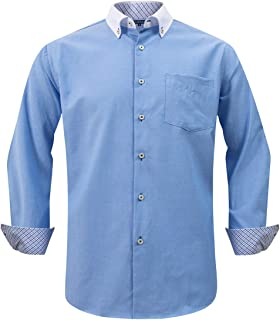 Double Pump Long Sleeve Shirts for Men Regular Fit Mens Button Down Business Casual Shirts