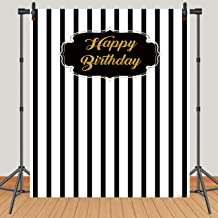 Hot Queen 5x7ft Happy 30th 40th 50th 60th Birthday Photography Backdrop Black and White Striped Photo Background Seamless Vinyl Photo Booth Backdrop