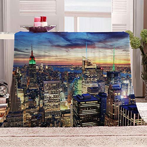 ZFSZSD Coperta di Pile New York City Morbida Coperte Ideale per Regalo Natale o per Comodo Relax sul Divano, TV, in casa. 150x200cm
