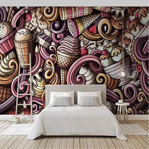 Photo Wallpaper Hand Drawn Cartoon 3D Ice Cream for Walls Cold Drink Tea Restaurant Bar KTV Wallpaper Wall Mural Decoration 200 x 140 cm