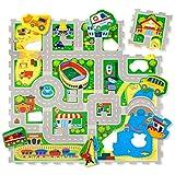 Hakuna Matte Alfombra Infantil Puzzle Diseño Coches 1,2 x 1,2m- 16 Piezas Interconectadas para el Piso - Alfombra Puzzle 20%...