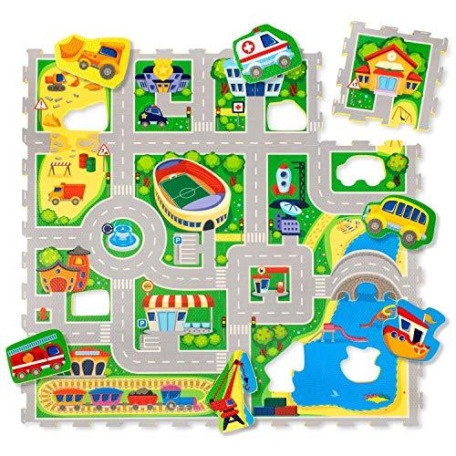 Alfombra Infantil Puzzle Diseño Coches 1,2 x 1,2m  16 Piezas Interconectadas para el Piso   Alfombra Puzzle 20% + Gruesa – Certificado EN 71 Sin Olor – Empaque Caja de Cartón Reciclable