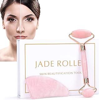 Jade Roller & Gua Sha Set, ZC Face Roller, Facial Beauty Roller Skin Care Tools, Rose Quartz Massager for Face, Eyes, Nec...