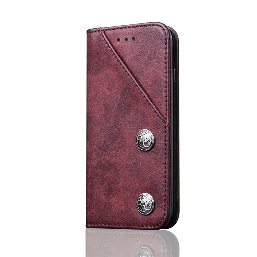 Cover Case for iPhone 6 Plus iPhone 6s Plus Apple, Retro Flip PU Leather Holder Red Full Protection 5.5inch with Retro Front Card Slot and Metal Buttons Viewing Stand for Girls Boys Unisex