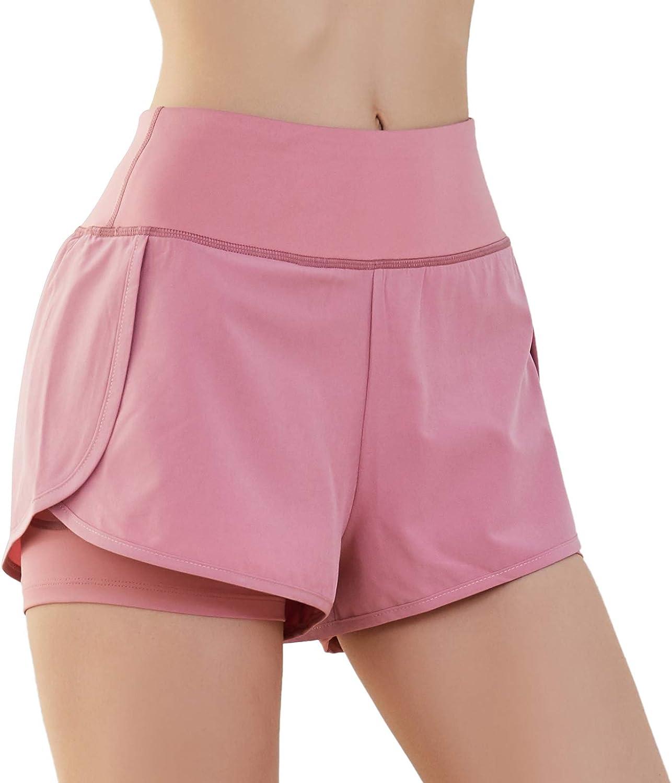 SKYSPER Shorts de Sport pour Femmes Haute /Élasticit/é Pantalon Court de Sport Respirant S/échage Rapide Legging Court pour Exercices Yoga Fitness Course Jogging Taille S-L