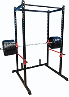 """TDS Mega 1000 lb Rated Black Power Squat Rack, 1.25"""" Dia Professionally knurled Front Chinning Bar, Provision to add LAT Attachment, Pull up/Chip up bar and More!"""