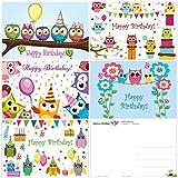Cartes d'anniversaire 'Hiboux drôles', 5 motifs peints avec amour, chacun...