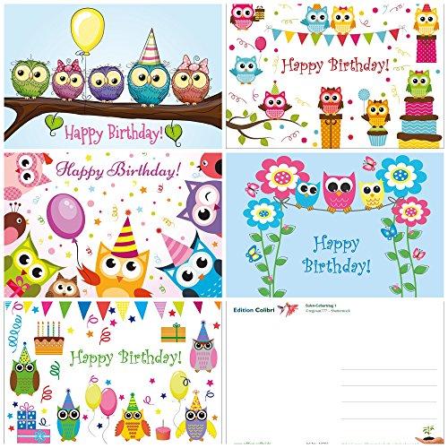 10 lustige Eulen-Geburtstagskarten für Kinder/Mädchen im 10-er Set (5 Motive x 2 St.), 14,8 x 10,5 cm von EDITION COLIBRI (10702-06)