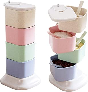Anytec Wheat Straw Spin-up Vertical with Spoon Seasoning Box Household Four-layer Rotating Condiment Tank Storage Container