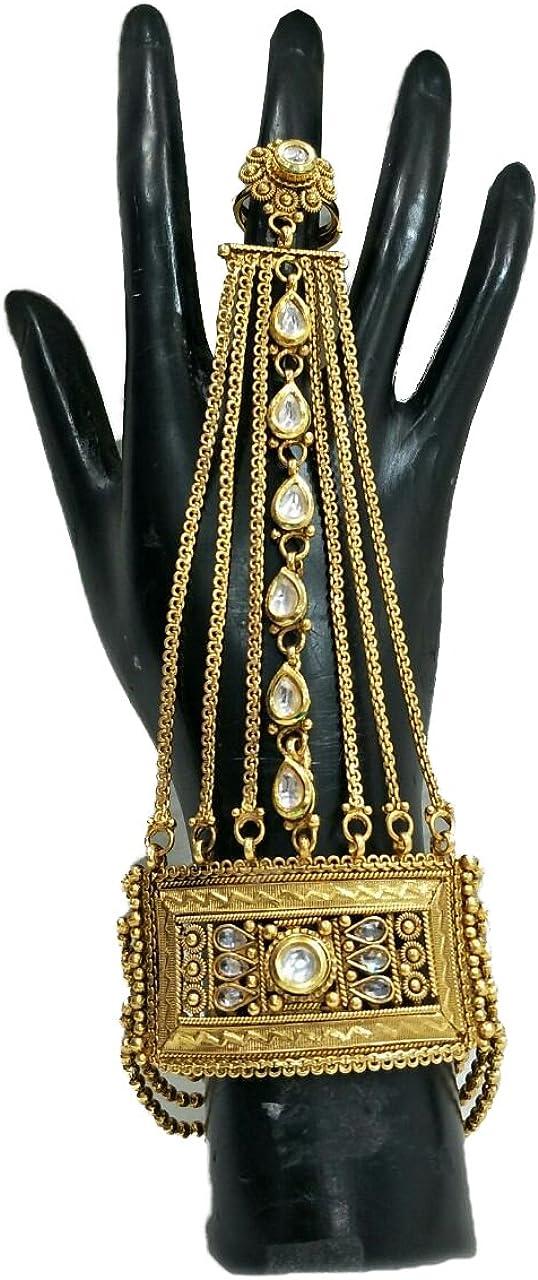 Babosa Sakhi Indian Bridal Hath Phool Panja Hand Cuff Bracelet with Ring Polki Kundan Hathphool