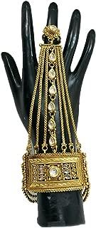 Babosa Sakhi Indian Bridal Hath Phool Panja Hand Cuff Bracelet Ring Polki Kundan Hathphool