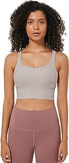 Sports Bra Women Mid Impact, Sexy Thread Cross Back Sports Bra for Gym Yoga,Gray,4