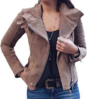 Womens Oblique Zipper Pure Color Short Coat Lapel Collar Jacket Outwear