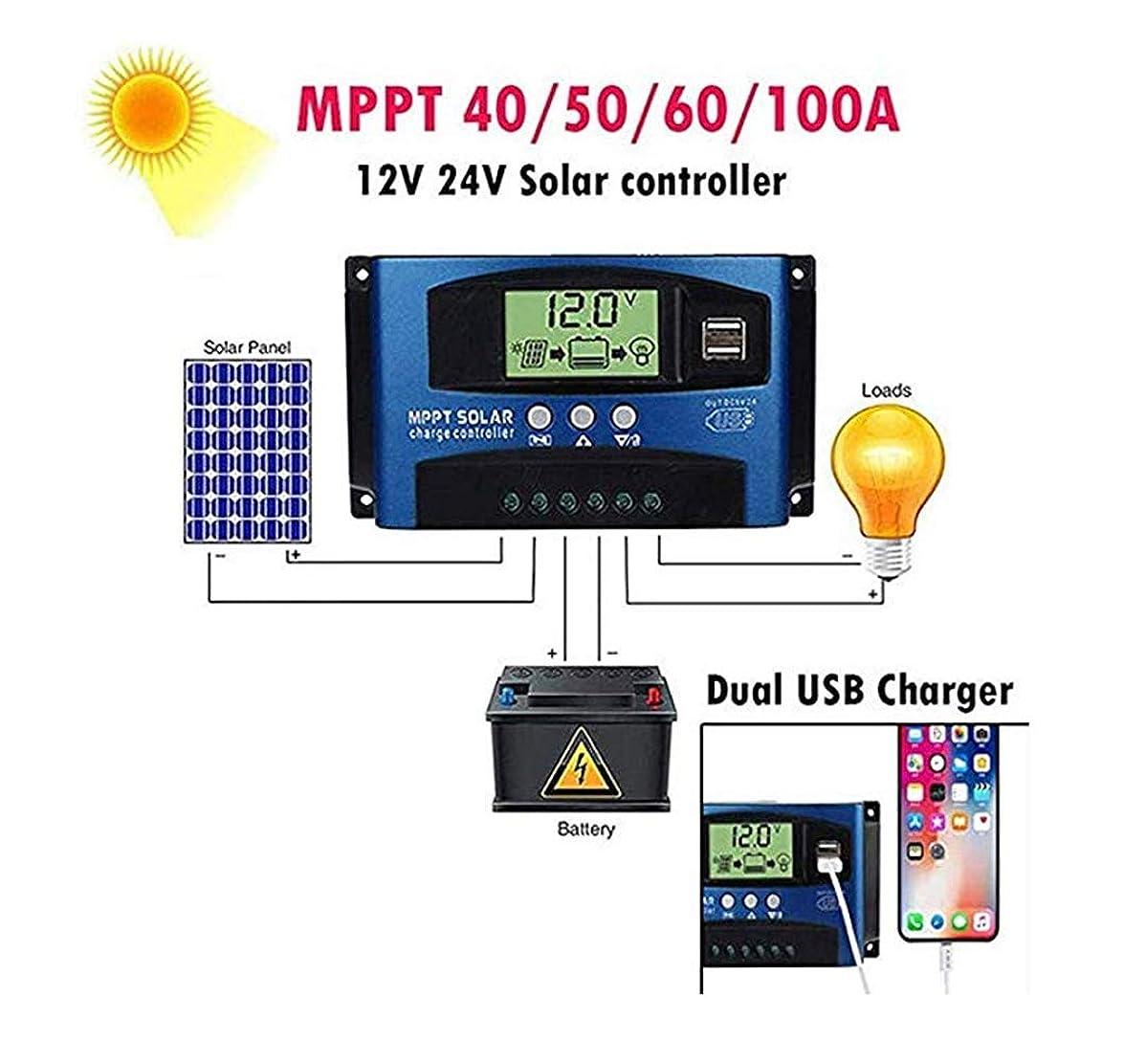 トラブル直径最も遠いソーラーチャージャーコントローラー 12V/24V チャージコントローラー LCD 充電 電流ディスプレイ 液晶 ソーラーコントローラ デュアル 自動調整スイッチ 過負荷保護 40A/50A/60A/100A (50A) (100A)