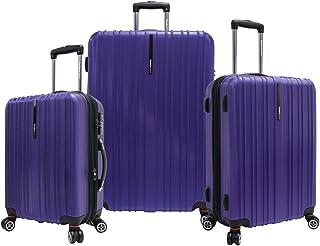 "Traveler's Choice Tasmania Polycarbonate Expandable 8-Wheel Spinner 3-Piece Luggage Set, Purple (21""/25""/29"")"