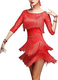 YM YOUMU Damen Tanzrock, Salsa ChaCha Tango Rumba Dance Dress mit Quasten,Tanzanzug Kostü