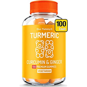 (100 Count) Organic Turmeric Gummies for Adults & Kids |Joint Pain Relief & Anti Inflammatory Supplement | Chewable Immune Support Vitamins | Turmeric Ginger Supplement Tumeric Curcumin Ginger Gummies
