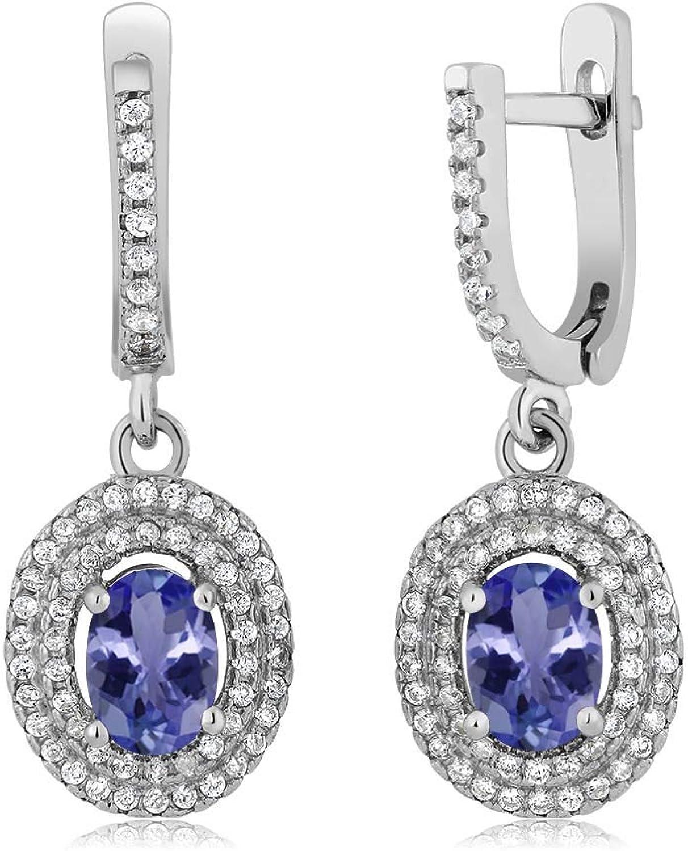 2.46 Ct Oval bluee Tanzanite AAA 925 Sterling Silver Earrings