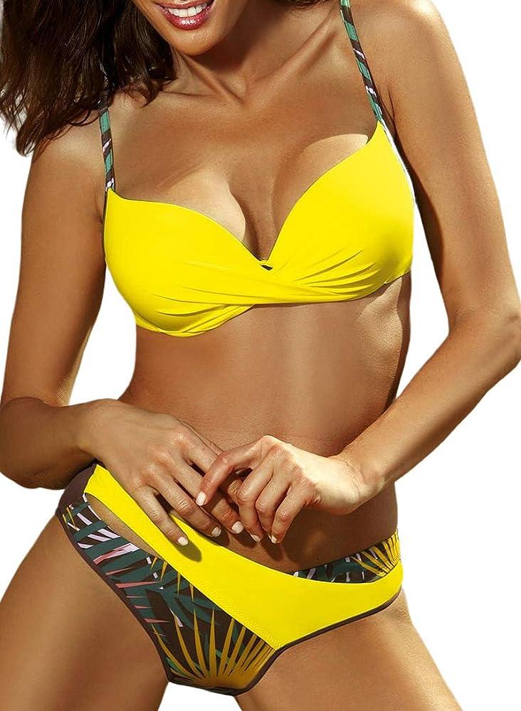 Jfan costume da bagno donna due pezzi in nylon e spandex giallo