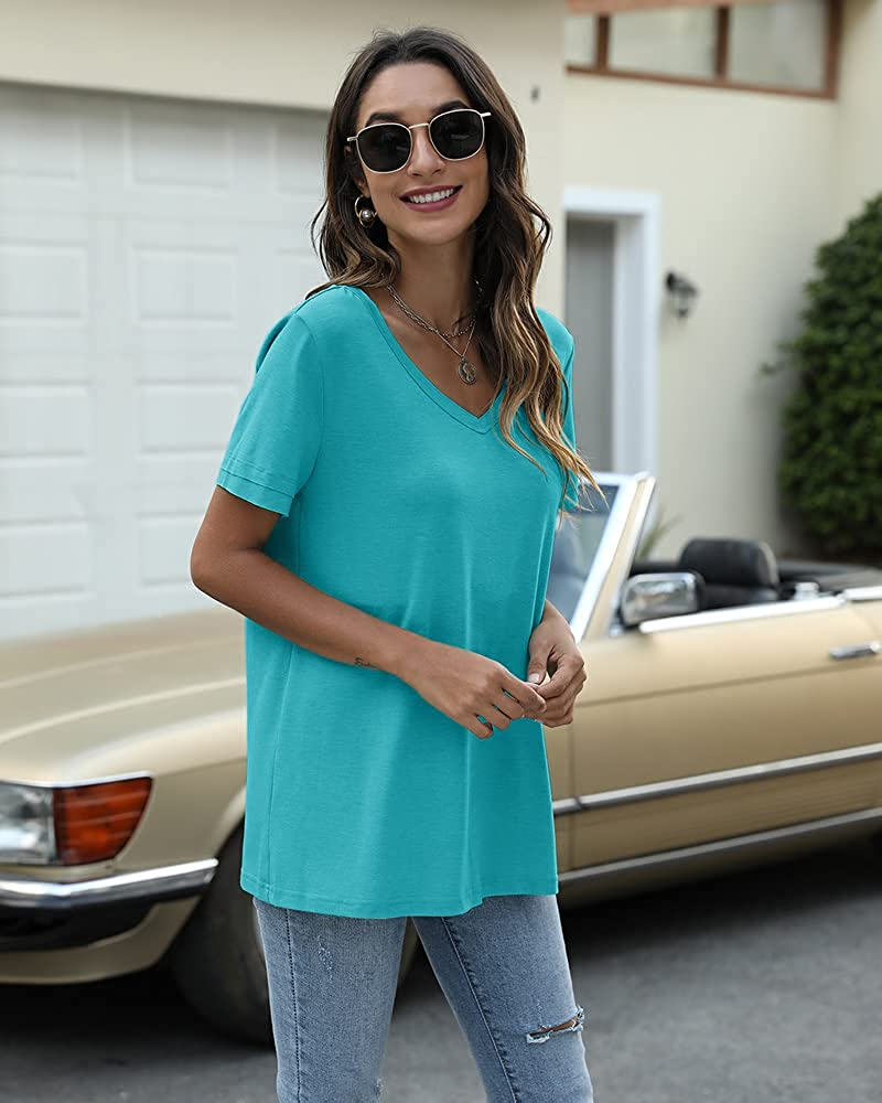 Womens Short Sleeve V Neck Shirts Summer Loose Casual Tee T-Shirt Basic Plain Tops