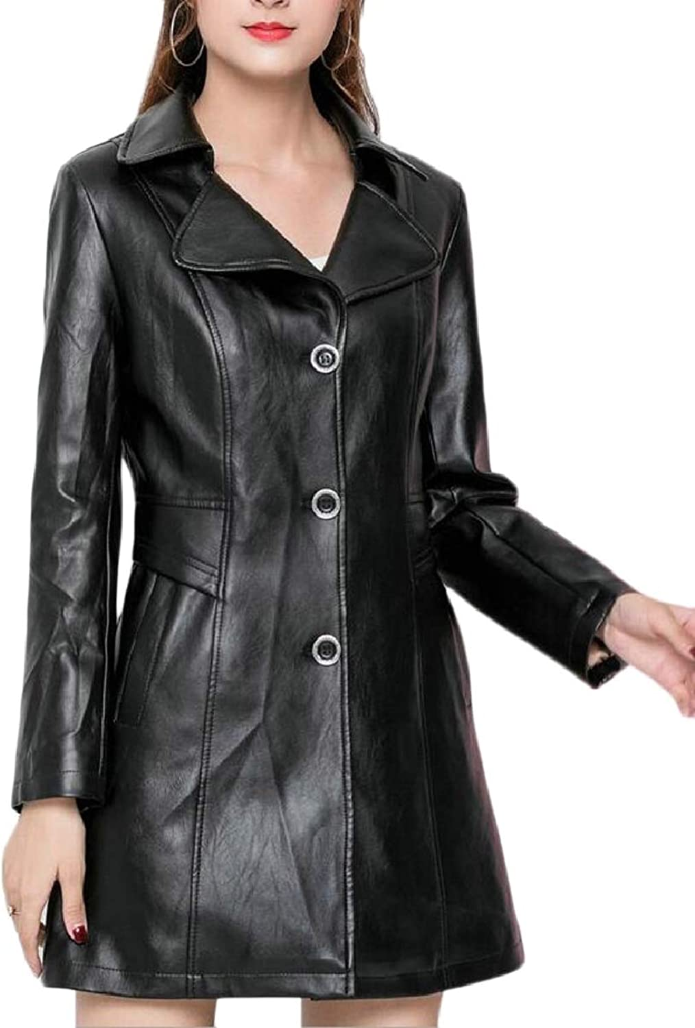 LEISHOP Womens Oversize Autumn Faux Leather Outwear Coat Jacket