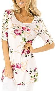 Camiseta Camisa AIMEE7 Ropa Mujer Camisa Casual a Rayas de Solapa de Mangas Cortas con Botones Chaleco y Blusa Moda 2019 Casual Primavera y Verano para Mujeres