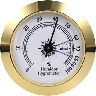FUNEW Cigar Hygrometer,Round Analog Hygrometer for Cigar Humidor,Cigar Box/Cigar Cabinet 2inch Diameter Gold
