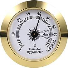 FUNEW Cigar Hygrometer,Round Analog Hygrometer for Cigar Humidor,Cigar Box/Cigar Cabinet 2inch Diameter Gold