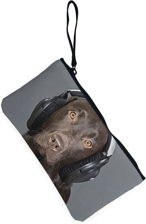 AORRUAM Black dog music Canvas Coin Purse,Canvas Zipper Pencil Cases,Canvas Change Purse Pouch Mini Wallet Coin Bag