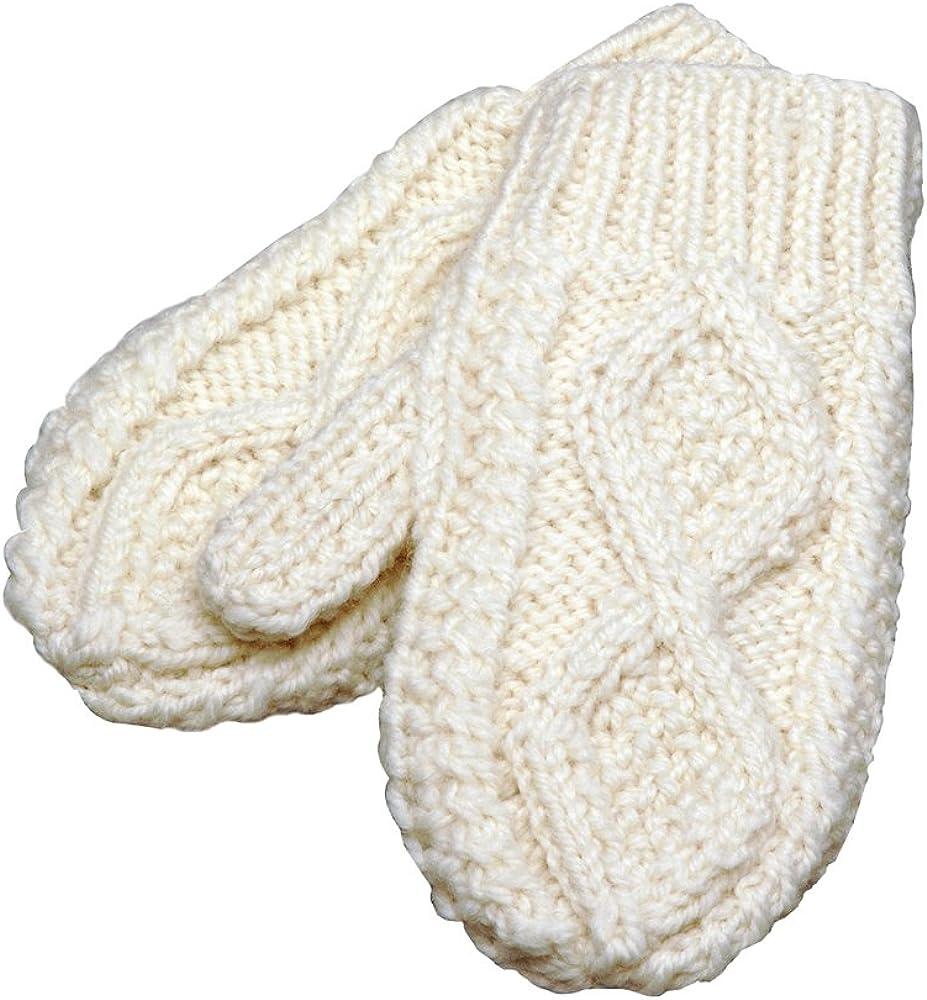 100% Irish Merino Wool Adult's Natural Aran Knit Mittens by Carraig Donn