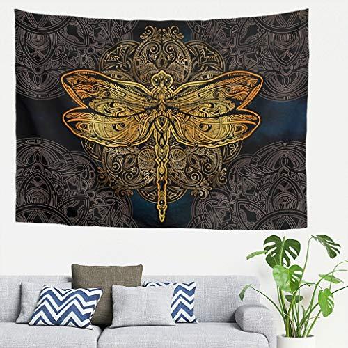 DAMKELLY Store Tapisserie hippie – Dragonfly Mandela Couvre-lit de plage pour décoration de la maison Blanc 40 x 59 cm