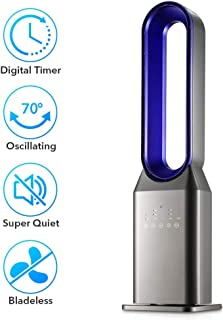Refrigerador Sin Bisturí Oscilante Aire Acondicionado Portátil, Hasta 7.temporizador 5 Horas, 3 Velocidad, 3 Modo Viento, Habitación Entera Silencioso Ventilador La Torre -gris +azul 90cm(35inch)