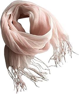Dolly Para レディース 麻マフラー 夏リネン ストール スカーフ ナチュラル清涼 グラティーション色変わる