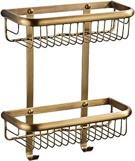 Fenteer 浴室用ラック バスルームラック 浴室棚 洗面所棚 ラック 収納ラック 真鍮製 2層ラック 全4カラー - ブロンズ