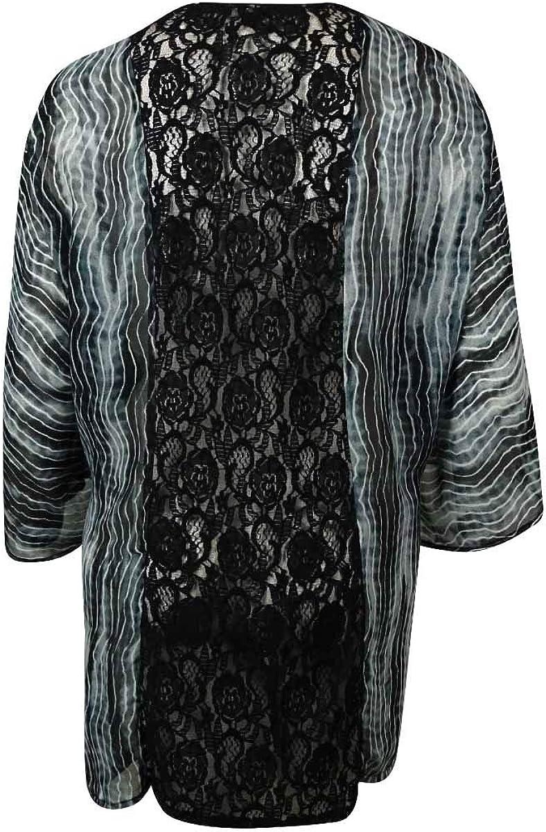 Raviya Women's Lace Back Kimono Crepe Swim Cover