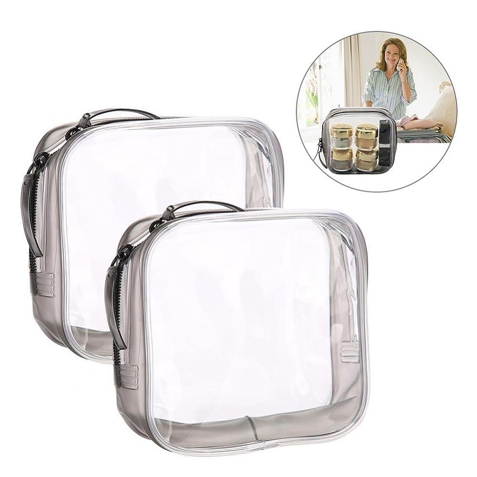 知人剣からメイクアップバッグ 旅行&家庭用 収納トイレタリー 透明 PVC 化粧品バッグ(S)