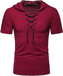 Mogogo Men's Hoodie Casual Slim Fit Short Sleeve Lace Up T-Shirts Solid Top