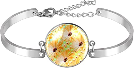 Verstelbare Armband unieke Little Yellow Daisy Flowers Groene Achtergrond voor vrouwen Roestvrij staal