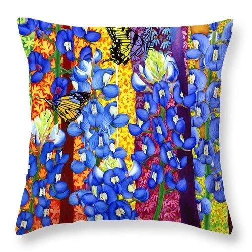 Lplpol Bluebonnet Garden Throw Pillow Covers Cotton Linen Square Decorative Throw Cushion Cover 16 x 16