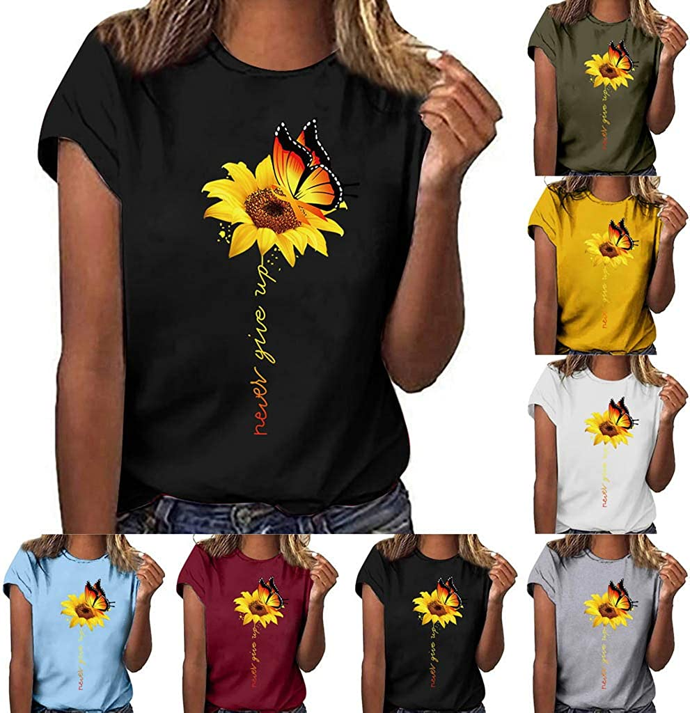 Aukbays Sunflower Shirts for Women Plus Size Cute Sunflower Graphic Tees Vintage Shirts Blouses Faith Tops Casual Tshirt