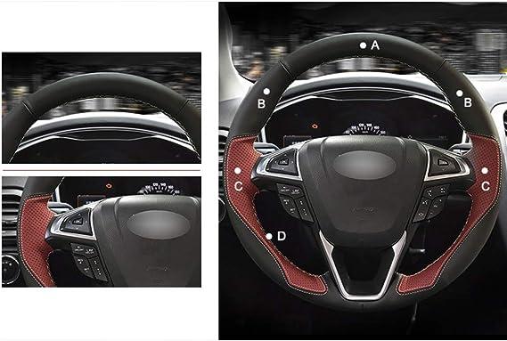 Hcdswsn Schwarzes Leder Weinrot Leder Mode Stil Auto Lenkradbezug Für Ford Mondeo Fusion 2013 2019 Edge 2015 2019 Sport Freizeit