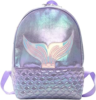 Hkiss Girls Mermaid Fish-tail Fashion Backpack- Toddler Animal Casual Day-pack Lightweight Casual Shoulder Backpack