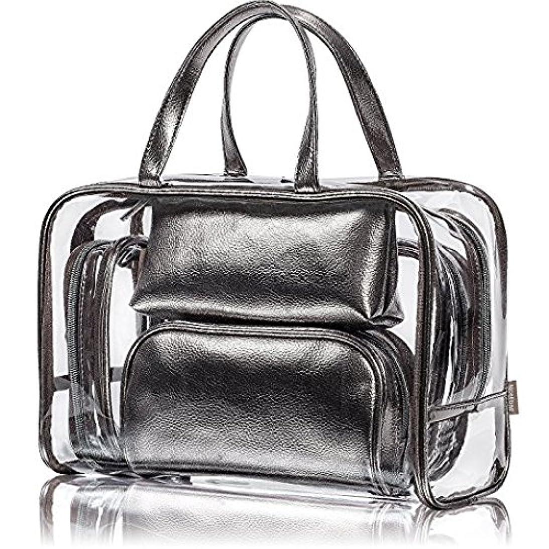 合金広々チロNiceEbag 透明バック、ビニールバッグ、化粧品バッグ、化粧ポーチ、メイクポーチ、クリアバッグ、プールバック、ハンドバッグ、トートバッグ、スタイリッシュ、オシャレ、かわいい、温泉、海、旅行 ビーチ ビジネス スパンコール 防水性 5個セットバック グレー