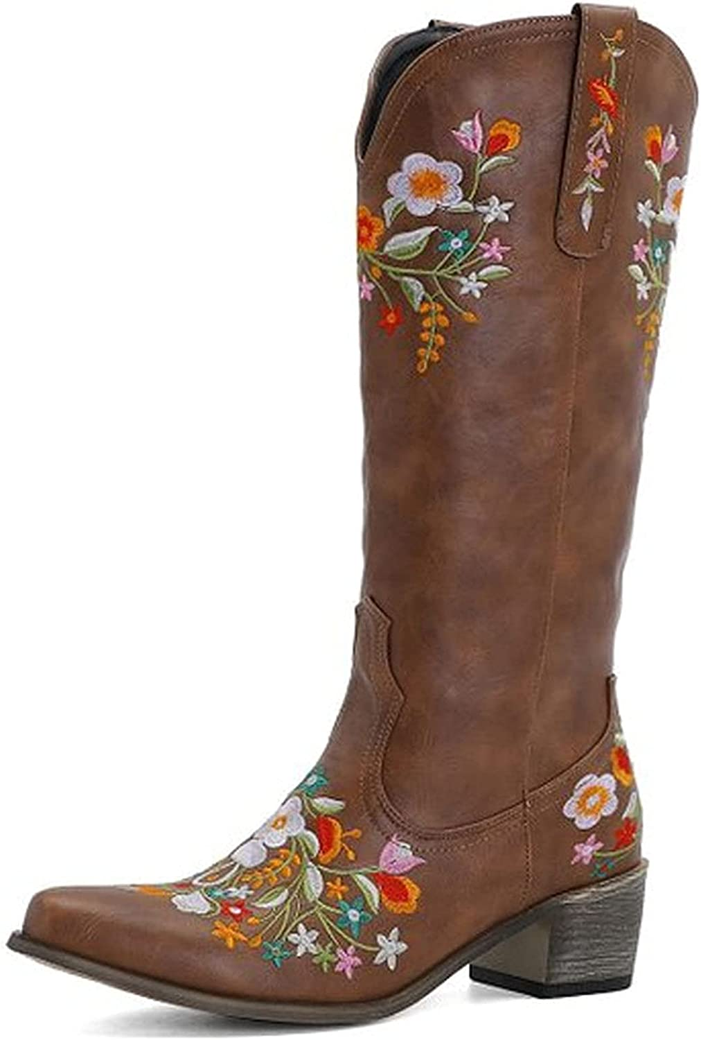 VOMIRA Cowgirl Boots for Women Vintage Pointed Toe Floral Embroidery Ankle Boots Chunky Heel Weatern Knight Boots